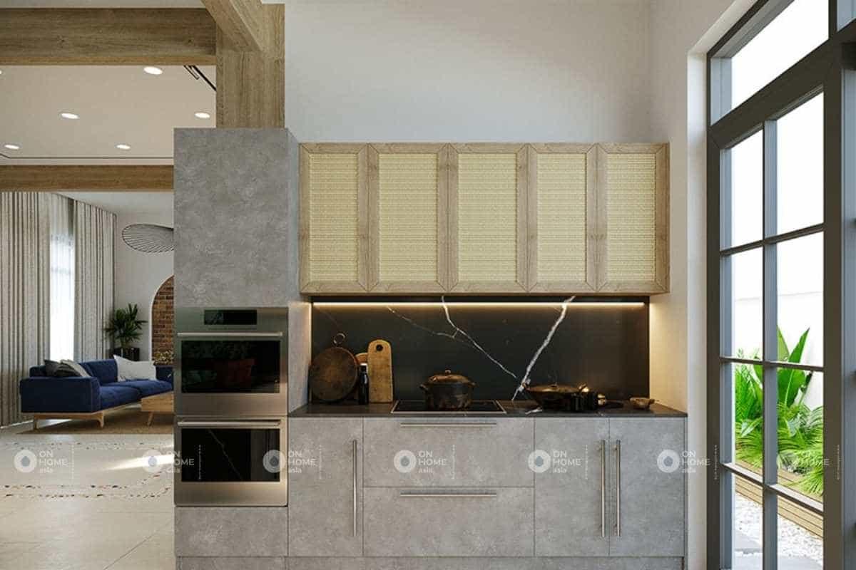 Phòng bếp được thiết kế đơn giản