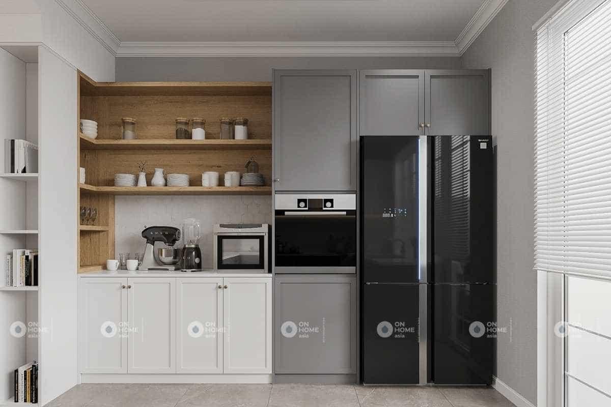 Hệ tủ bếp được thiết kế gọn gàng và sạch sẽ