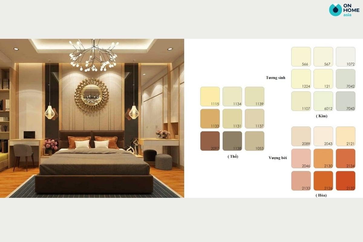 Màu sơn phòng ngủ cho gia chủ mệnh thổ