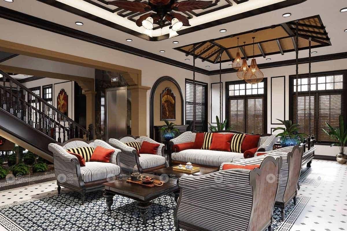 Kiến trúc phòng khách đẹp với gam màu trầm ấm