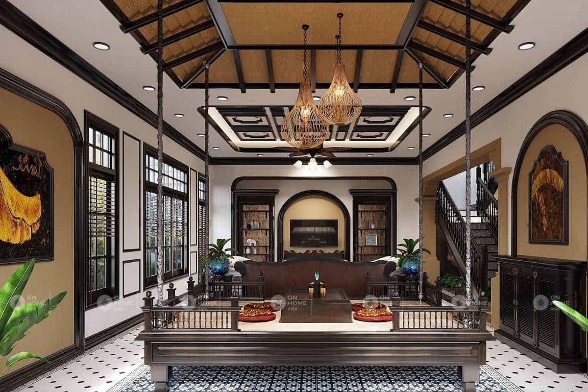 kiến trúc phòng khách đẹp theo lối cổ điển Việt Nam