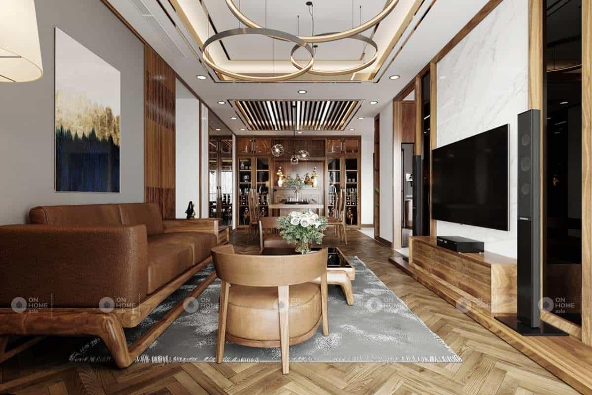 Thiết kế phòng khách gỗ đẹp