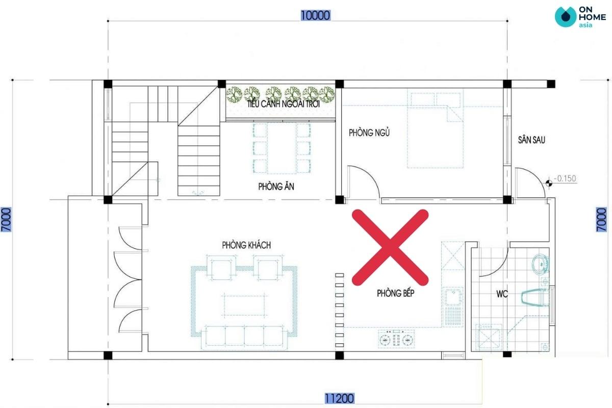 Cửa phòng ngủ không nên đặt đối diện phòng bếp