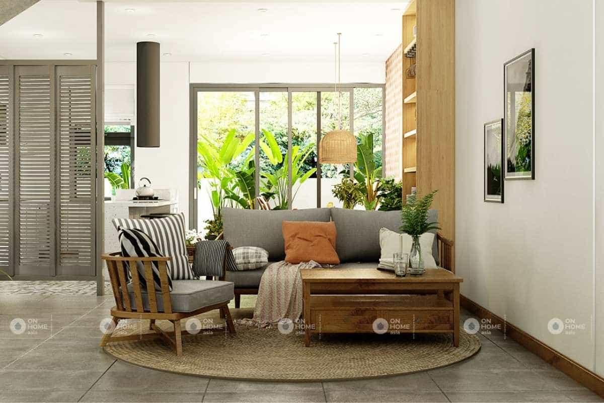 Thiết kế phòng khách nhà phố phong cách Mộc