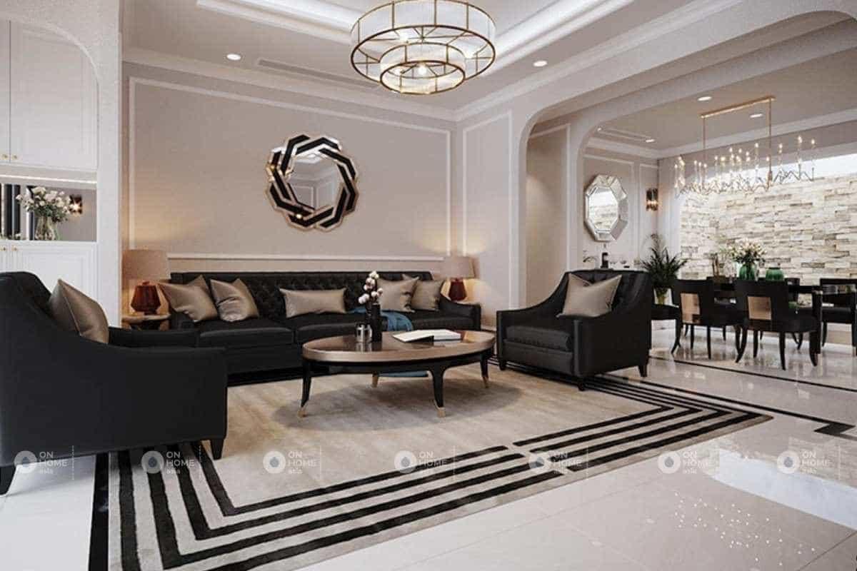 Phòng khách nội thất nhà phố đẹp phong cách Châu Âu