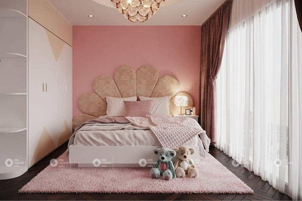 Nội thất nhà phố với phòng ngủ bé gái