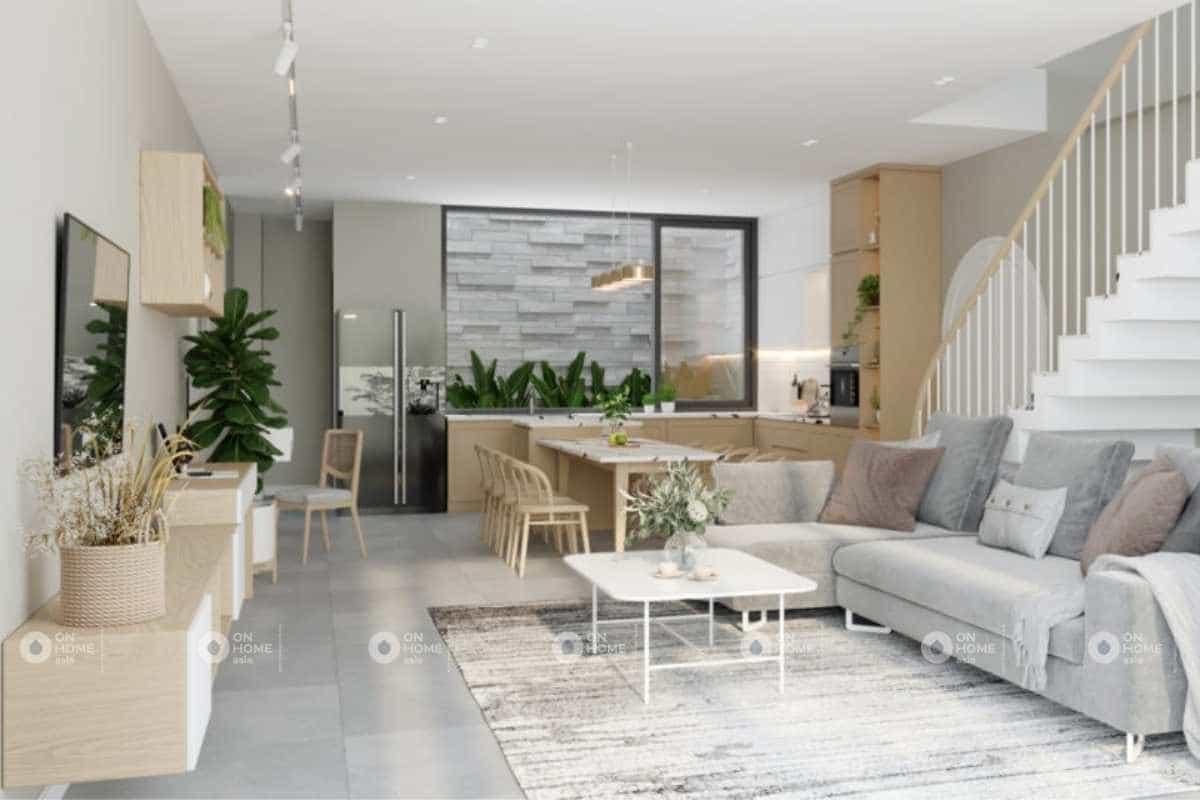 Thiết kế nội thất nhà phố với phòng khách và bếp liền kề nhau