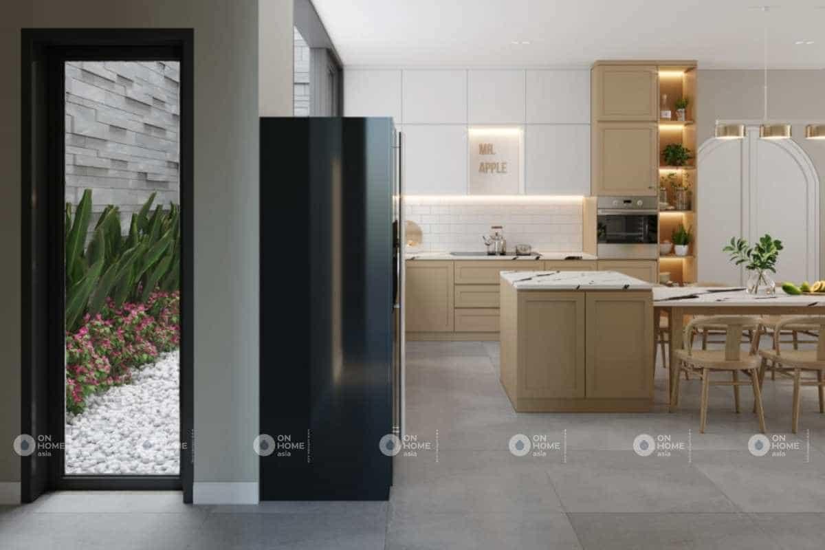 Phòng bếp của nội thất nhà phố 100m2 rộng rãi và thông thoáng