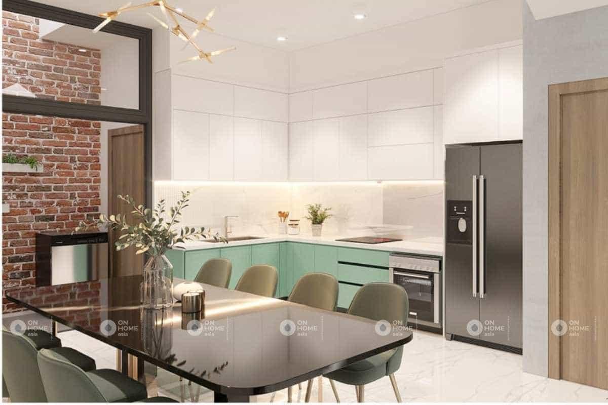 Phòng bếp của mẫu thiết kế nội thất nhà phố hiện đại