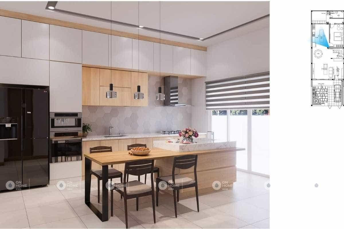 Khu vực bếp nấu sang trọng và tiện nghi với đầy đủ công năng
