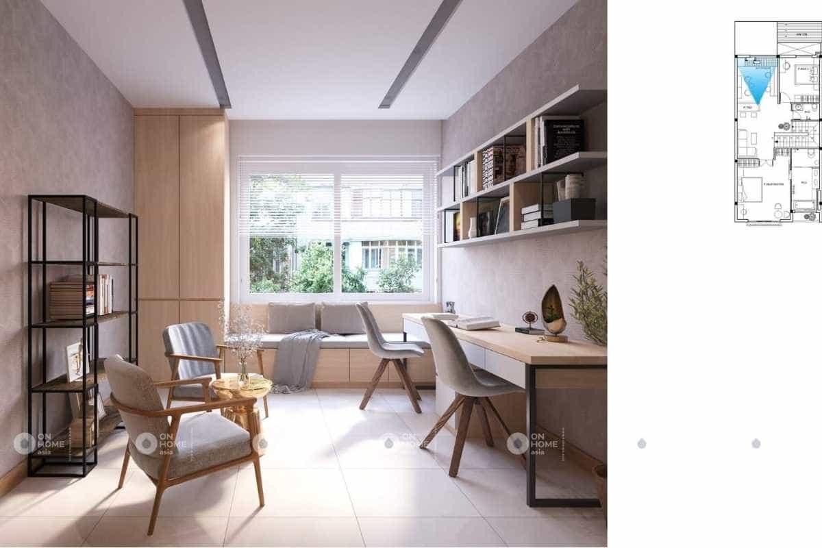 Khu vực phòng làm việc của thiết kế nội thất nhà ống 2 tầng