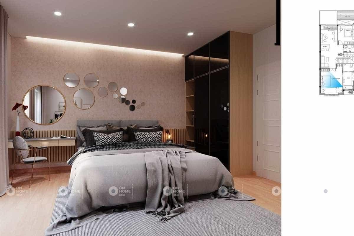 Phòng ngủ master thu hút với ánh vàng trong thiết kế nội thất