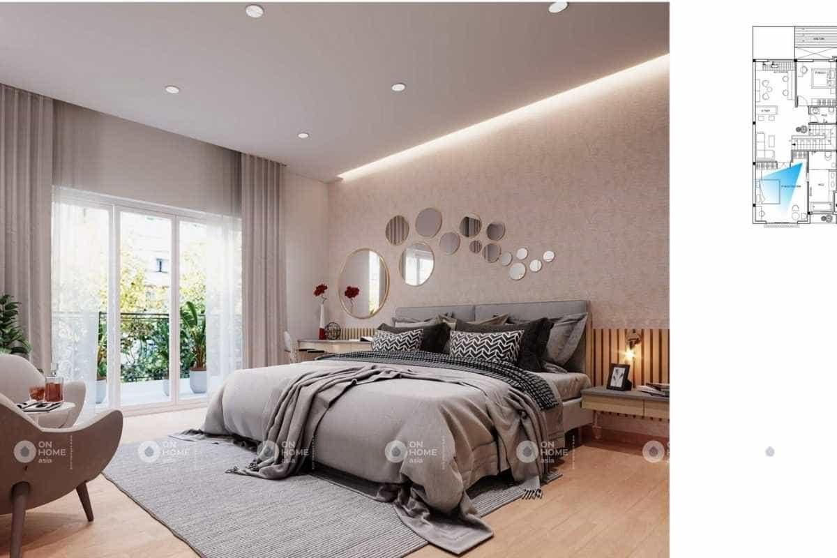 Phòng ngủ master của thiết kế nội thất nhà ống 2 tầng hiện đại