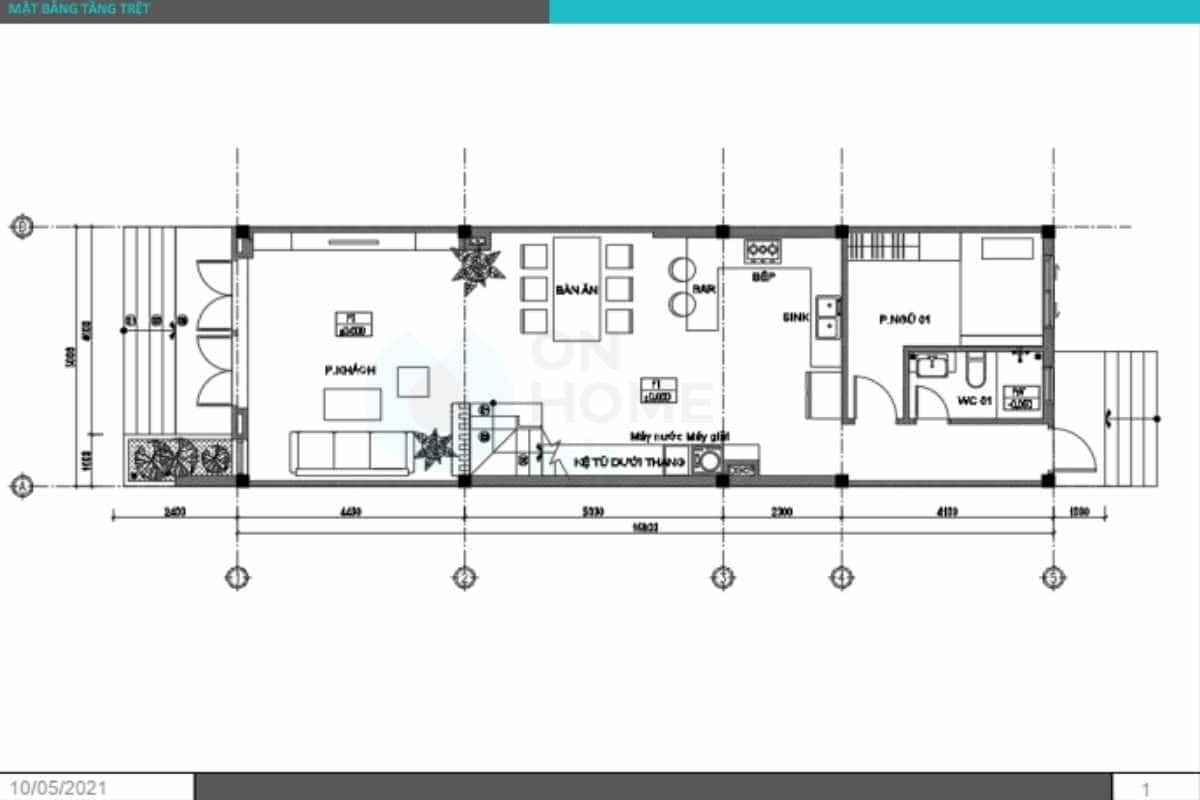 Mặt bằng tầng trệt nhà phố 2 tầng