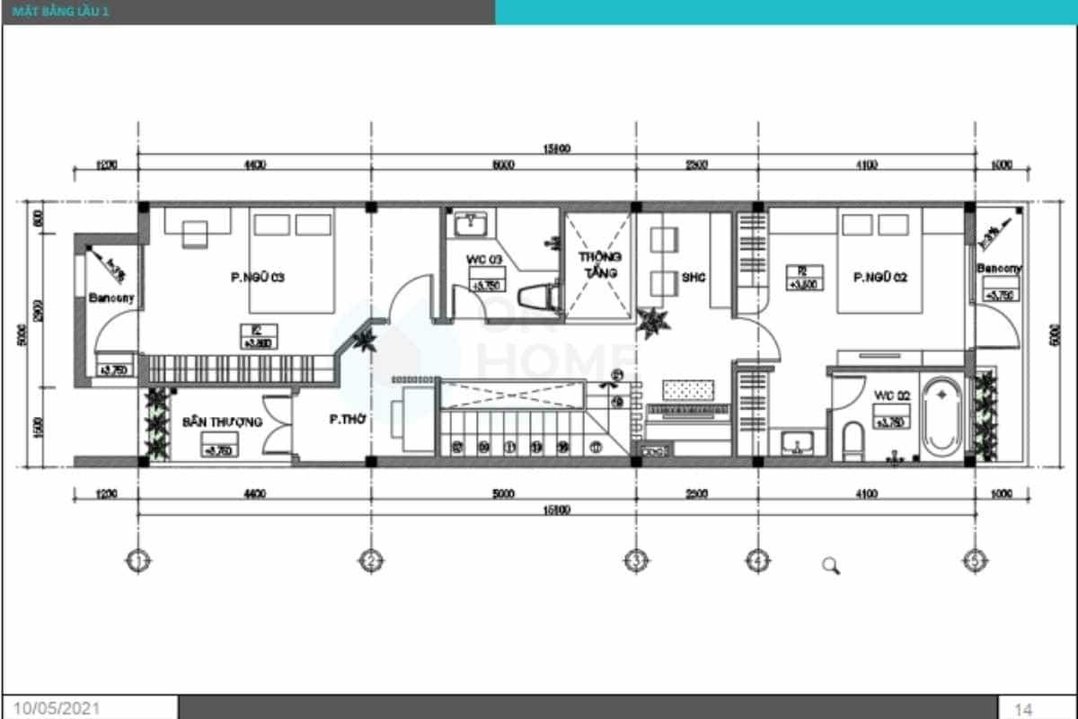 Mặt bằng thiết kế nội thất nhà phố tầng 2