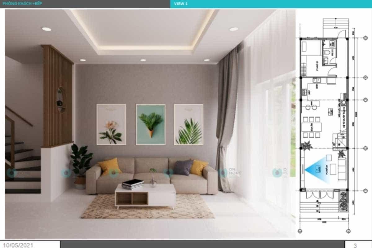 Thiết kế nội thất phòng khách nhà phố đơn giản