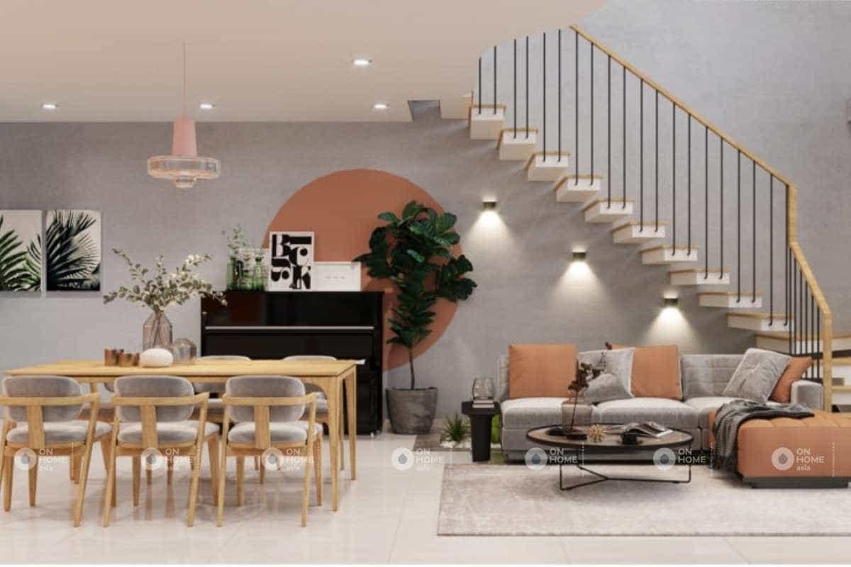 thiết kế nội thất nhà cấp 4 màu cam