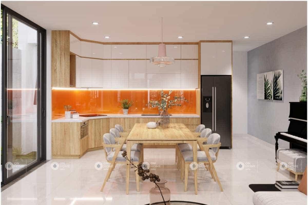 Thiết kế phòng bếp nhà cấp 4 với sắc cam