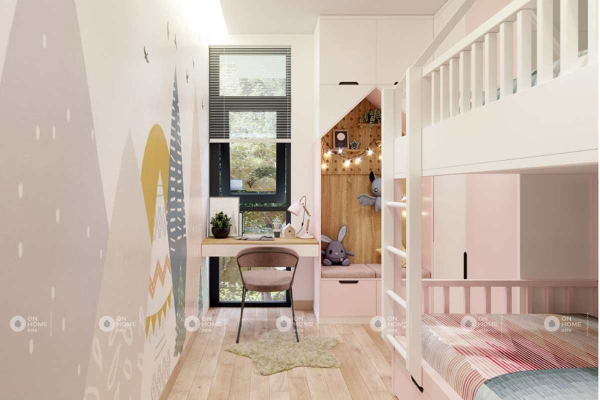 Thiết kế phòng ngủ màu hồng nhà cấp 4