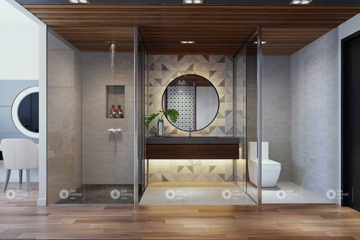 Thiết kế nhà vệ sinh cấp 4 rộng rãi.