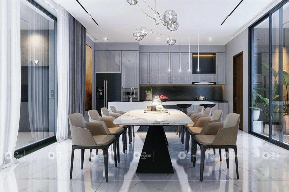 Thiết kế nội thất phòng bếp nhà cấp 4 sang trọng