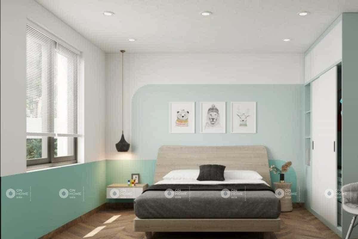 Thiết kế nội thất phòng ngủ nhỏ  nhà cấp 4 với màu xanh