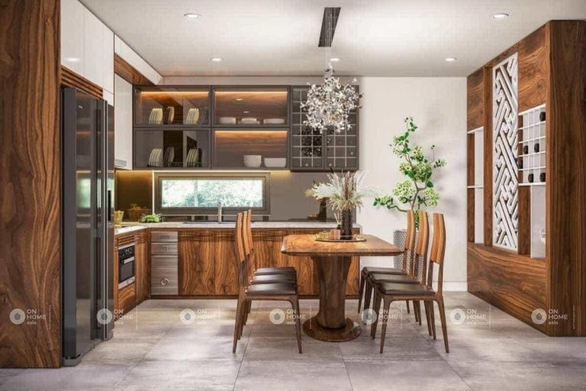 Thiết kế phòng bếp gỗ nhà cấp 4 đẹp