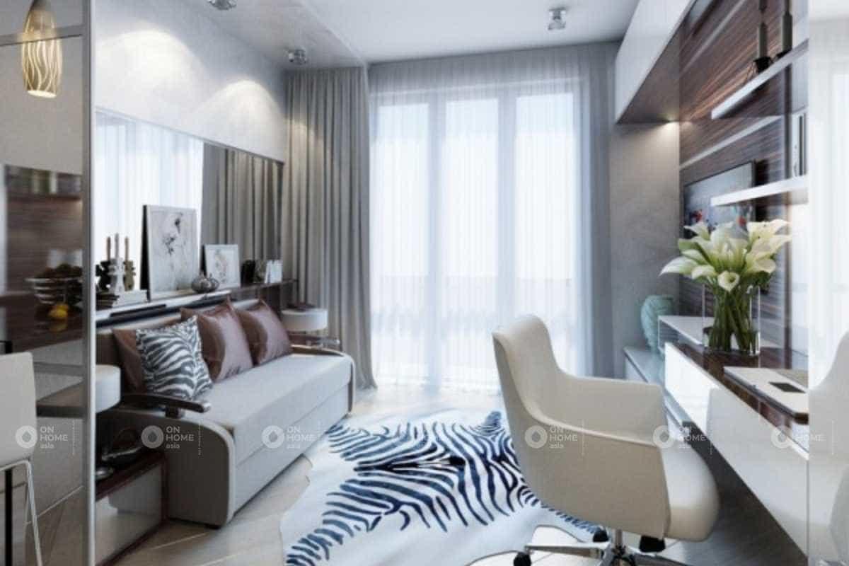 Thiết kế nội thất nhà nhỏ 30m2 dành cho phòng khách với họa tiết táo bạo
