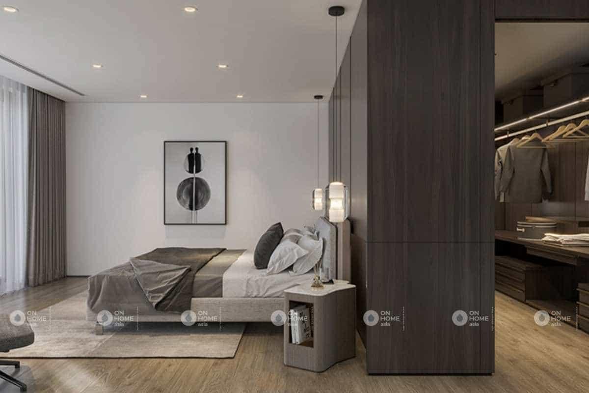 Tầng 2 của nội thất nhà phố được thiết kế thành phòng ngủ