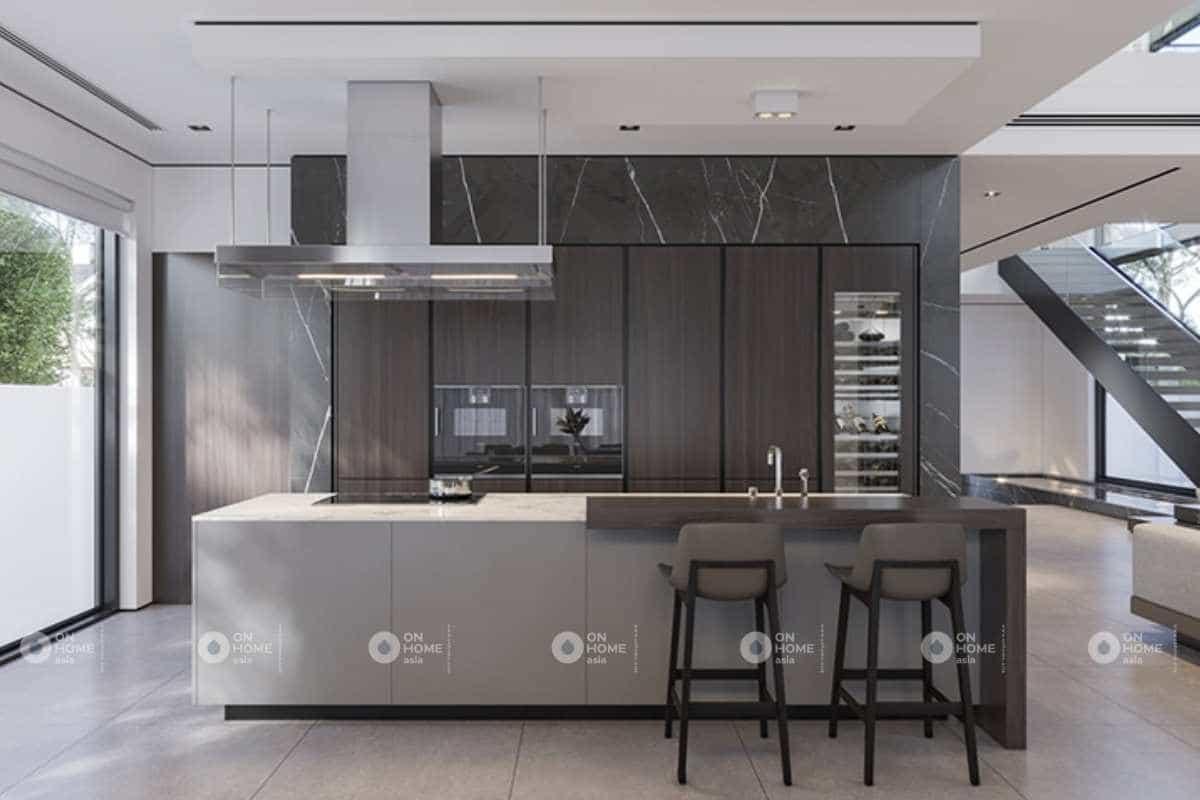 Nội thất nhà phố với phòng bếp sang trọng