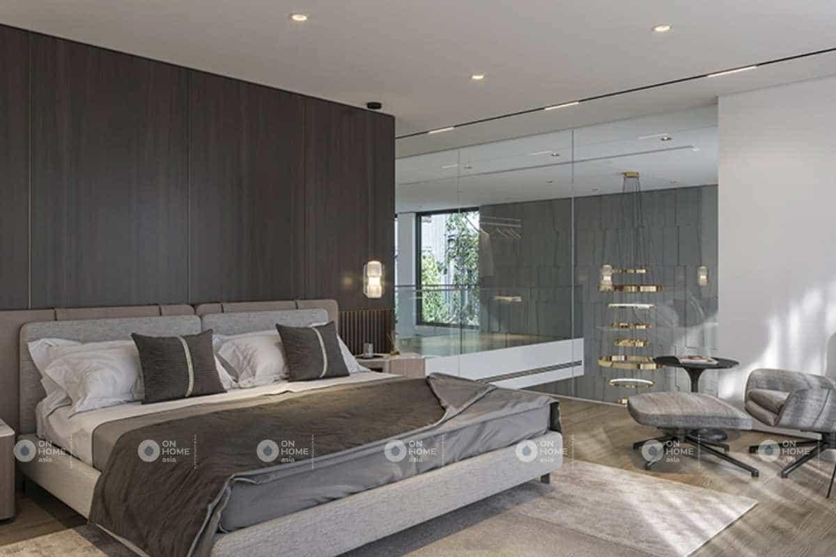 Phòng ngủ rộng lớn và cá tính với sắc màu trung tính