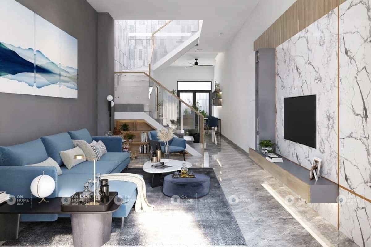 Nội thất phòng khách nhà phố với sắc xanh bắt mắt