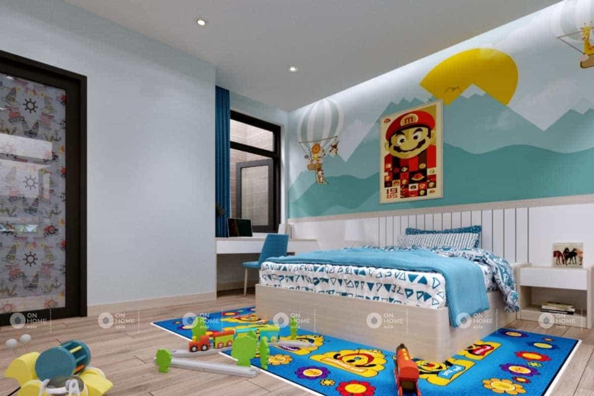 Nội thất phòng ngủ bé trai với các hình vẽ tinh nghịch
