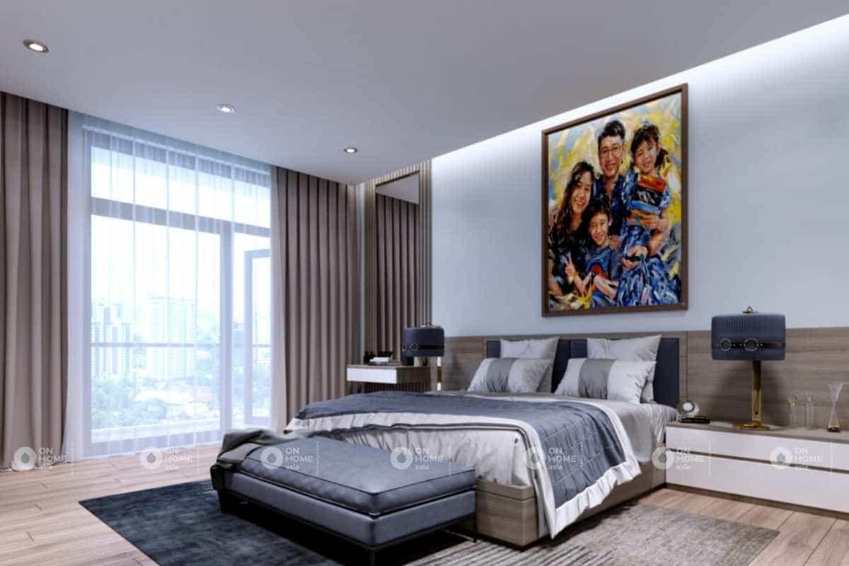 Phòng ngủ master hiện đại với màu trung tính thời thượng