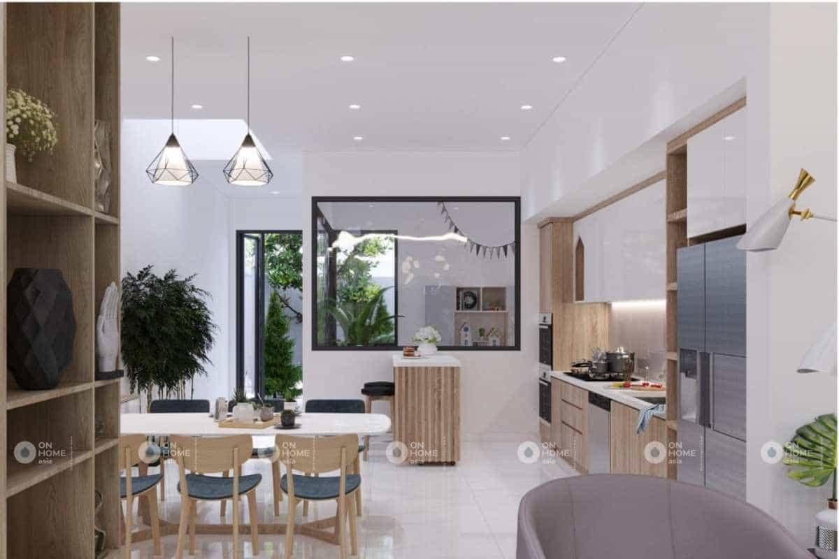 phòng bếp nhà phố hiện đại tích hợp đa chức năng