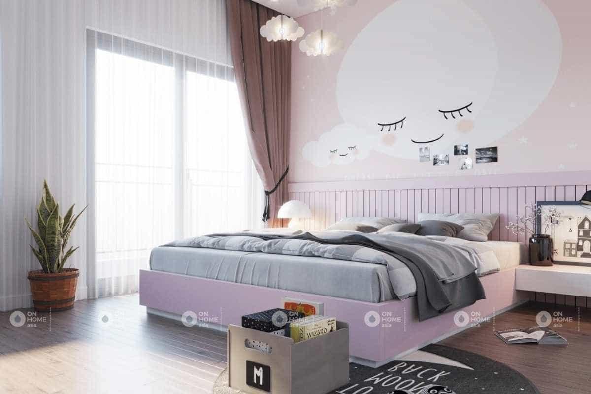 Thiết kế phòng ngủ màu hồng dành cho bé gái