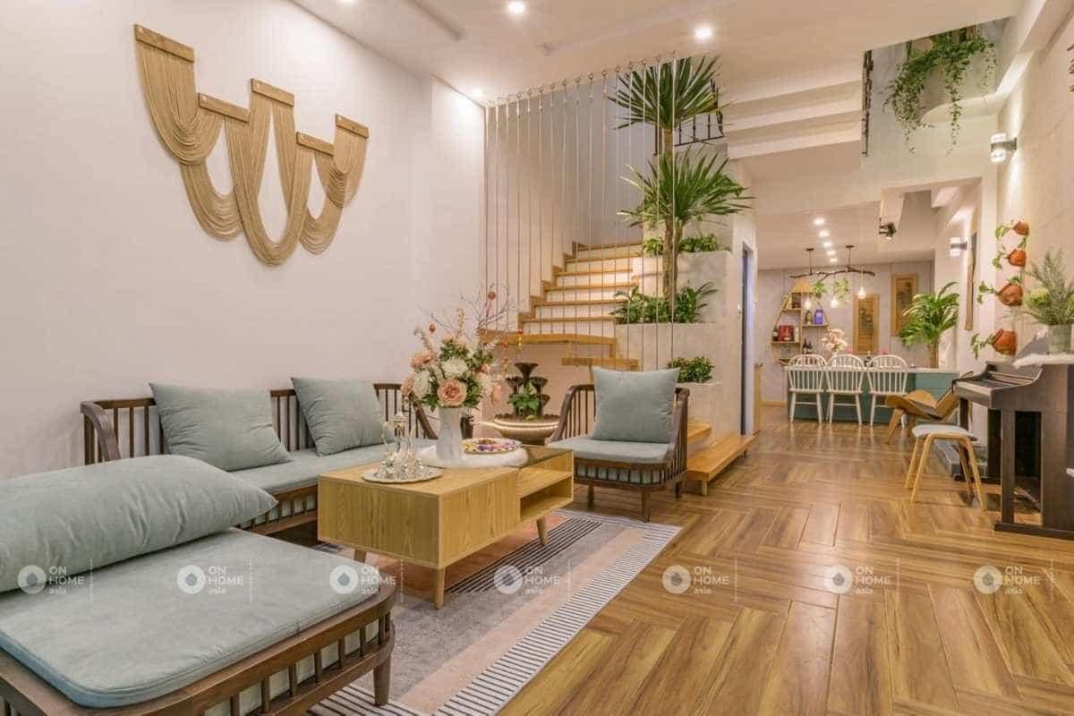 Thiết kế nội thất nhà 4 tầng phong cách đồng quê