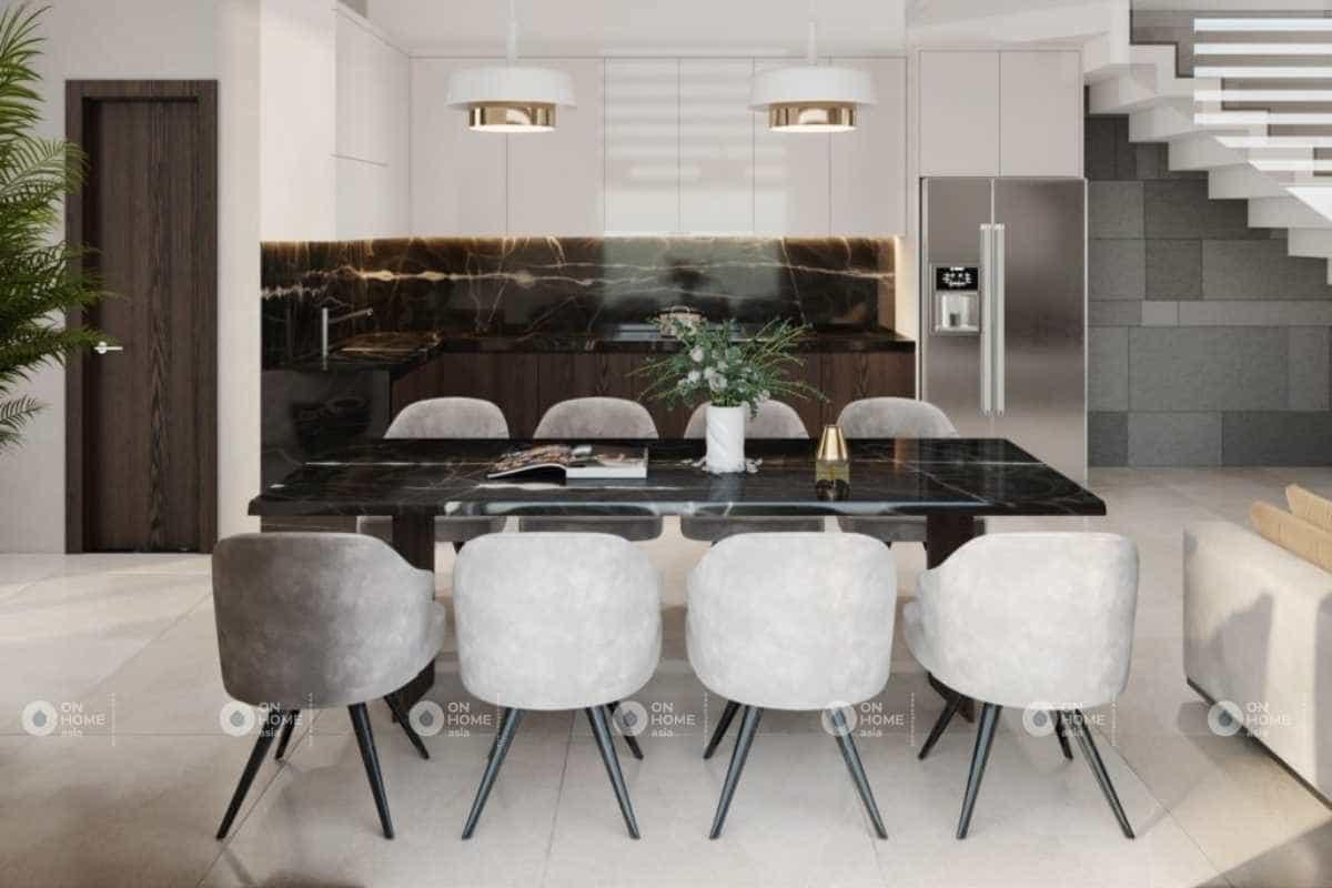 Thiết kế phòng bếp nhà 4 tầng sang trọng và đầy đủ tiện nghi