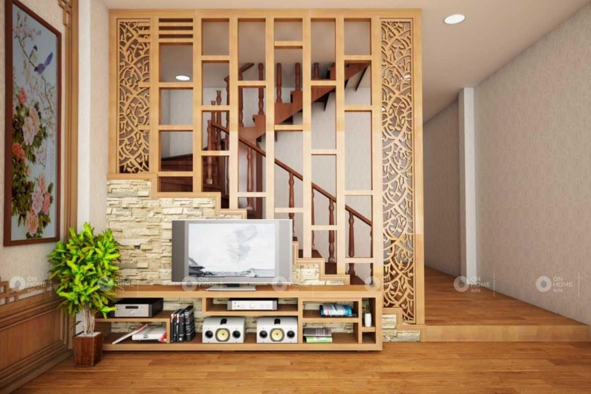 Tủ vách ngăn bằng gỗ phòng khách đẹp
