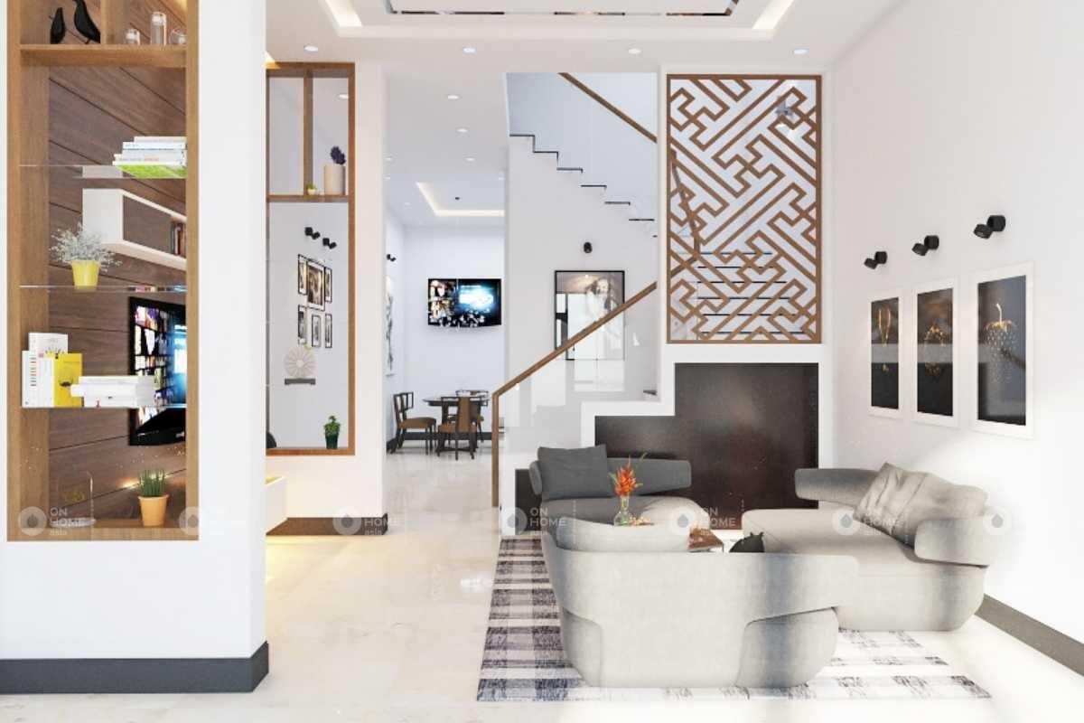 Vách ngăn cầu thang phòng khách