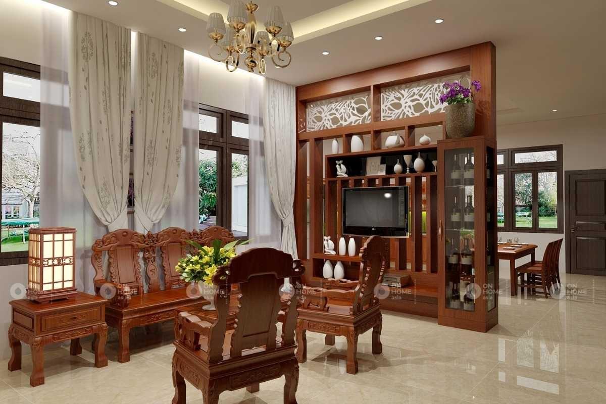 Vách ngăn gỗ đẹp phòng khách