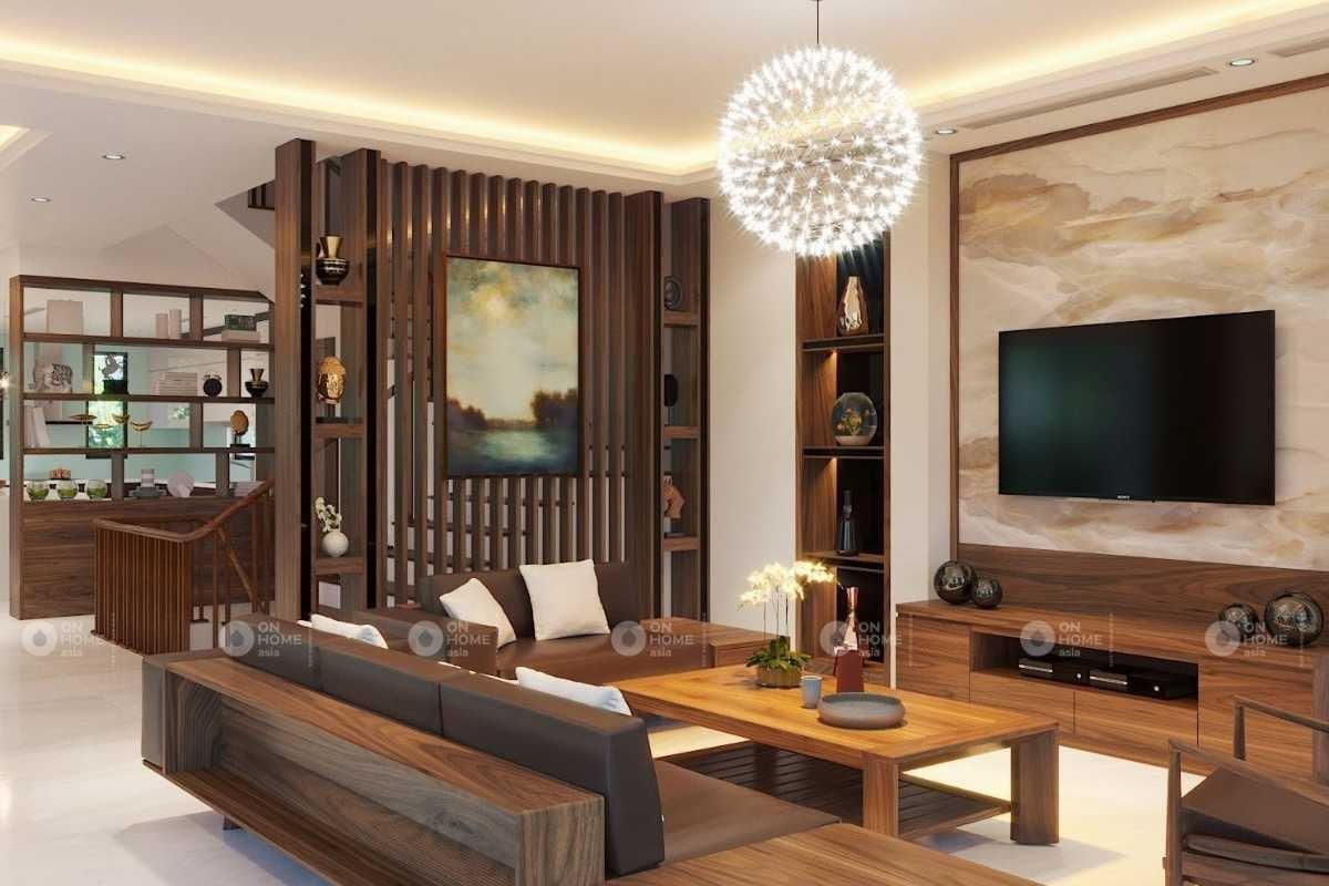 Vách ngăn phòng khách bằng gỗ đẹp