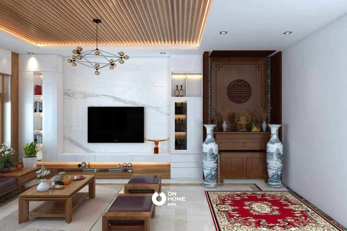 Sự tương phản trong thiết kế trần nhà đẹp