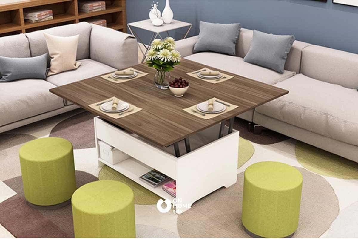 Sofa kết hợp cùng bàn trà thông minh giúp phòng khách trở nên hiện đại hơn