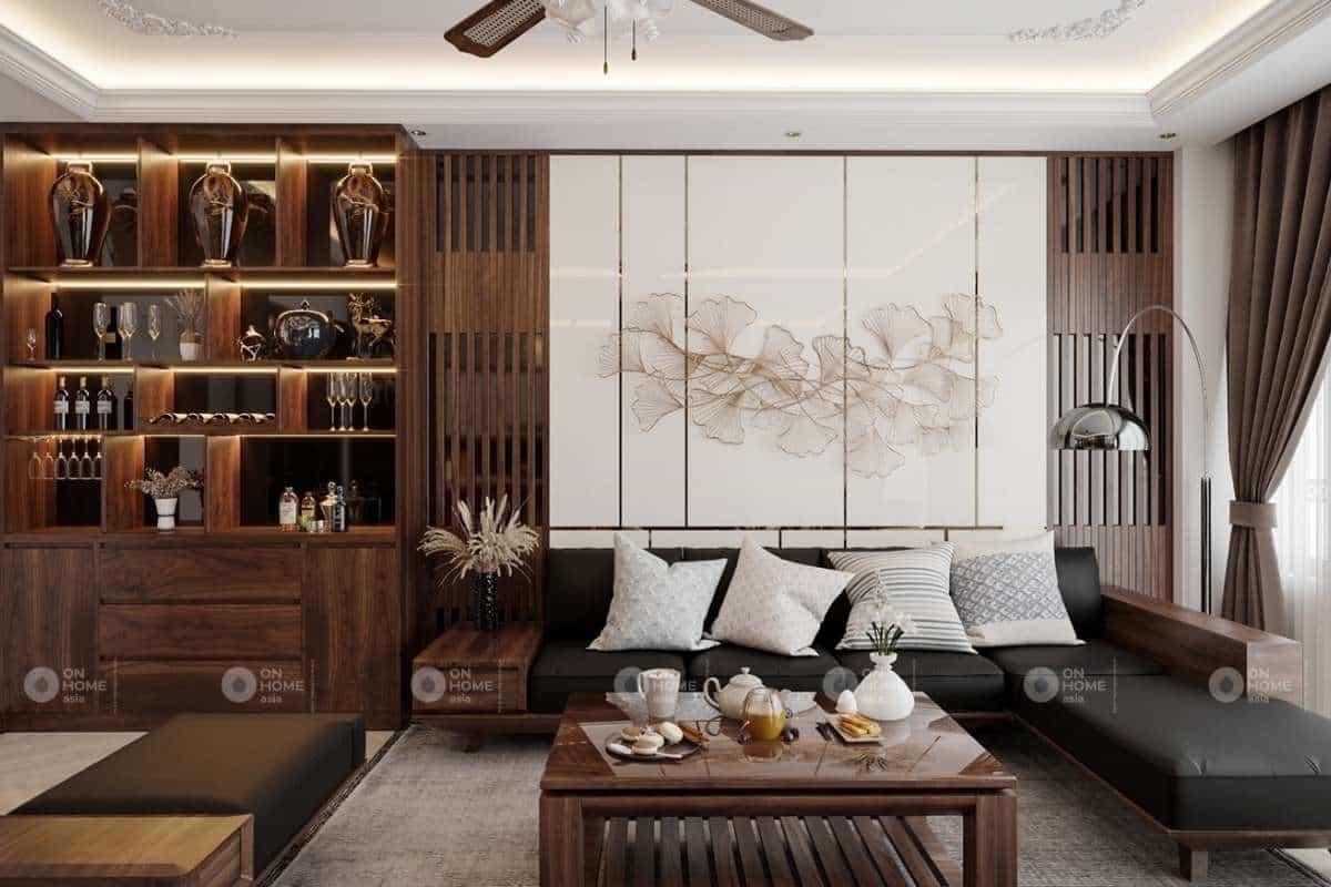 Thiết kế phòng khách gỗ đẹp và sang chảnh