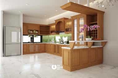 Tủ bếp kết hợp quầy bar sang trọng
