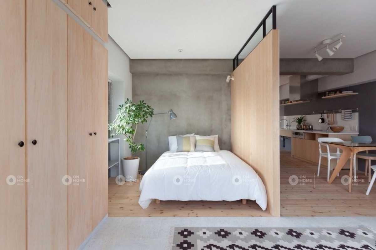 Phòng khách đẹp có vách ngăn với phòng ngủ