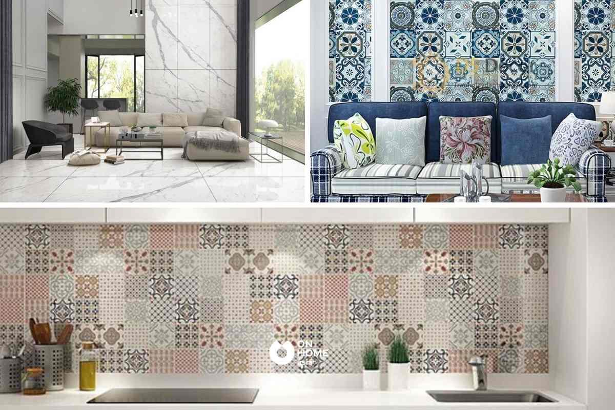 Gạch men được sử dụng làm vật liệu ốp tường, lát sàn,...