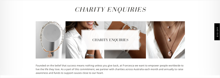 Francesca's charity landing page