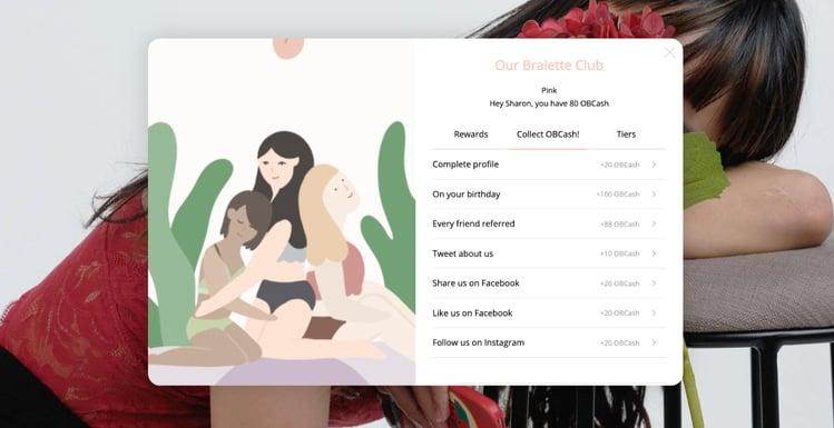 Our Bralette Club's online loyalty widget